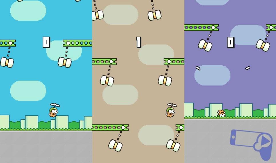 Swing Copters - официальный клон Flappy Bird