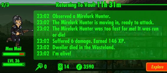 Советы Fallout Shelter: боец направляется обратно к бункеру