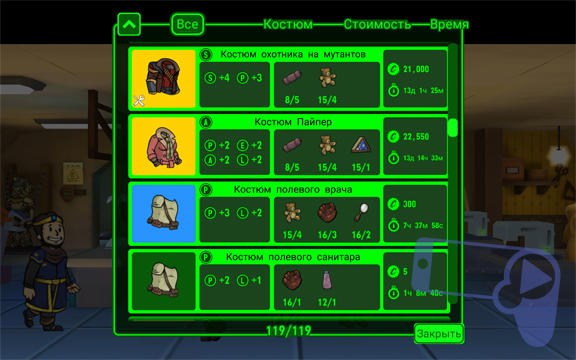 Все рецепты на крафт костюмов в Fallout Shelter