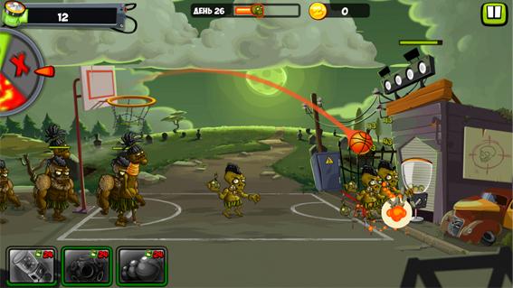 Как закинуть мяч в корзину в Zombie Smash Basketball?