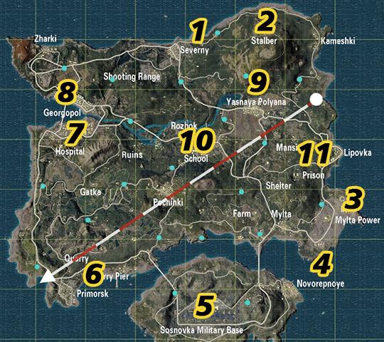 Карта вертолетных площадок на карте Ерангель а ПАБГе